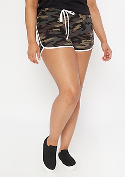 Plus Camo Print Super Soft Dolphin Shorts
