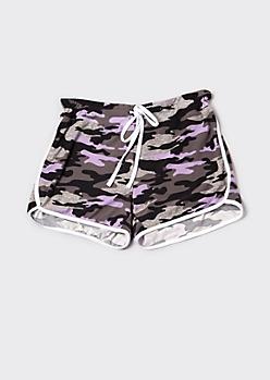 Plus Lavender Camo Print Dolphin Shorts