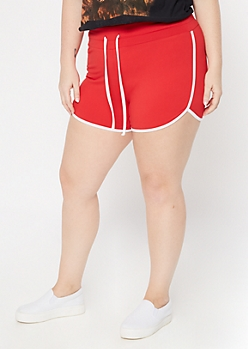 Plus Red Super Soft Dolphin Shorts