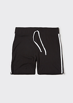 Plus Black Side Striped Active Shorts