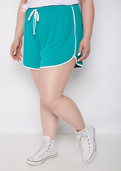 Plus Teal Piped Knit Dolphin Short