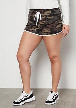 Plus Camo Print High Waisted Super Soft Dolphin Shorts
