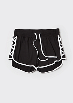 Plus Black Lattice Drawstring Dolphin Shorts