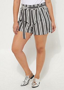 Plus Blue & White Striped Tie Front Shorts