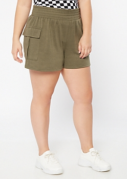 Plus Olive Fleece Cargo Shorts