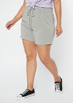 Plus Heather Gray Long Fleece Sweat Shorts