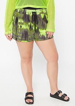 Plus Neon Green Tie Dye Lounge Shorts