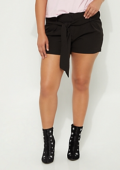 Plus Black Belted Paper Bag Shorts