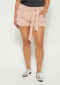 Plus Pink Tie Front Chiffon Shorts