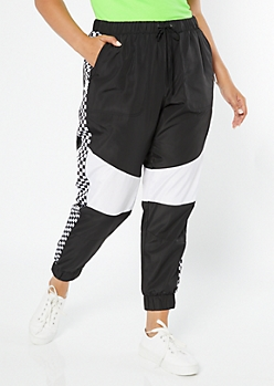 Plus Black Colorblock Checkered Side Striped Swishy Track Pants