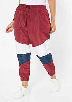 Plus Burgundy Colorblock Swishy Track Pants