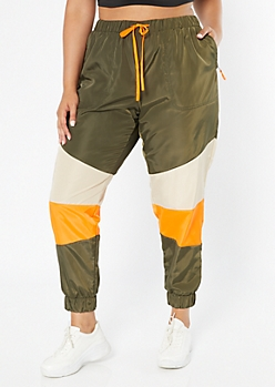 Plus Olive Colorblock Swishy Track Pants
