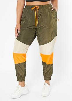 Plus Olive Colorblock Swishy Track Pants