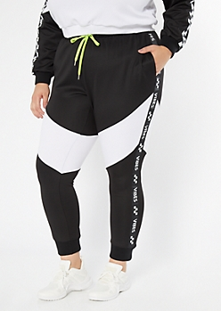 Plus Black Colorblock Vibes Side Striped Joggers