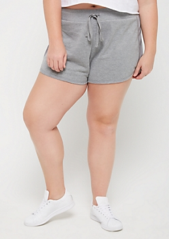 Plus Gray Mesh Panel Dolphin Shorts