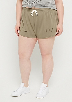 Plus Olive Ripped Dolphin Shorts