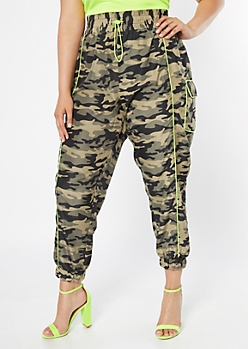 Plus Camo Print Cargo Pocket Nylon Joggers