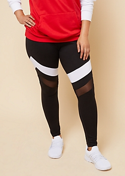 Plus Black White Striped Super Soft Mesh Knee Leggings