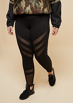 Plus Black High Waisted Mesh Panel Leggings