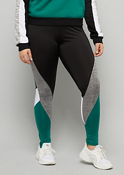 Plus Green Space Dye Striped Mid Rise Leggings