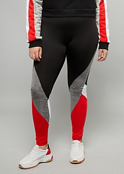 Plus Red Space Dye Striped Mid Rise Leggings