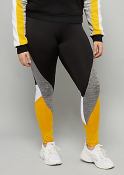 Plus Yellow Space Dye Striped Mid Rise Leggings