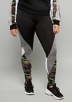 Plus Camo Print Space Dye Striped Mid Rise Leggings