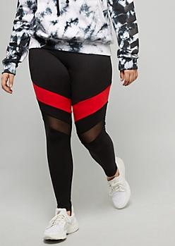 Plus Black Red Striped Super Soft Mesh Knee Leggings