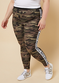 Plus Camo Print Mid Rise Side Striped Hustle Leggings