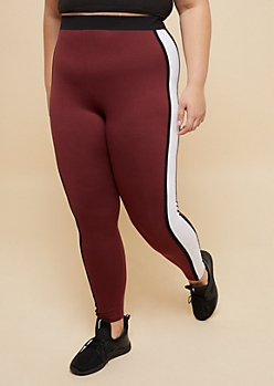 Plus Burgundy Striped Super Soft High Waisted Leggings