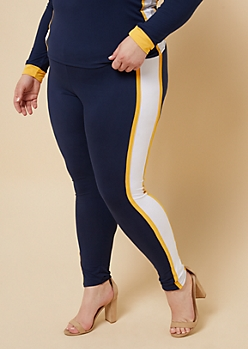 Plus Navy Side Striped High Waisted Leggings