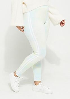 Plus Light Blue Tie Dye Varsity Leggings