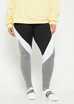 Plus Black Colorblock Mesh High Waist Leggings
