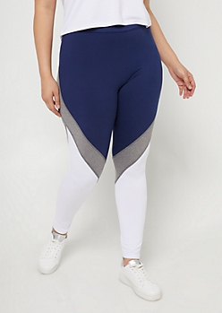 Plus Navy Colorblock High Waisted Mesh Panel Leggings