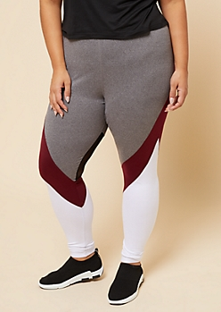 Plus Burgundy Colorblock Mesh High Waist Leggings