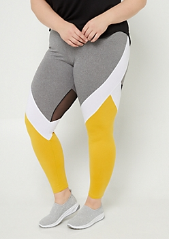 Plus Yellow Colorblock High Waisted Mesh Panel Leggings