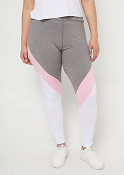 Plus Pink Colorblock Mesh High Waist Leggings