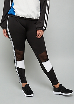 Plus Black Hustle Side Striped Mesh Leggings
