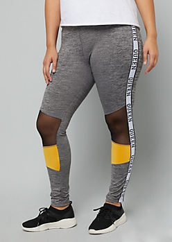 Plus Gray Colorblock Queen Side Striped Leggings