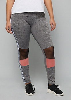 Plus Gray Colorblock Self Made Side Striped Leggings