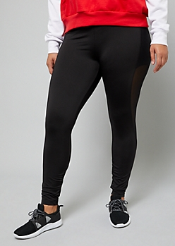 Plus Black Mesh Accent Pocket Leggings
