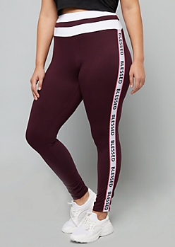 Plus Purple Blessed Side Striped High Waisted Leggings