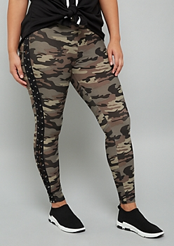 Plus Camo Print Lace Up Super Soft High Waisted Leggings