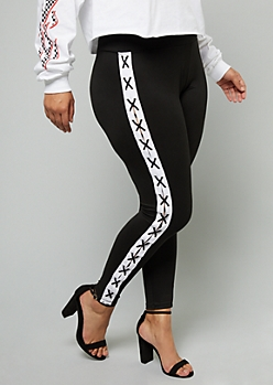 Plus Black Lace Up Striped Super Soft High Waisted Leggings