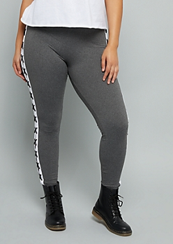 Plus Gray Lace Up Striped Super Soft High Waisted Leggings