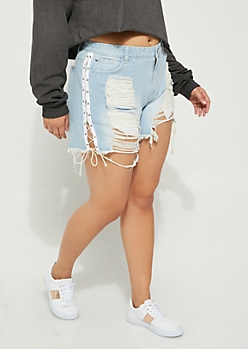 Plus Light Wash Lace Up Jean Shorts