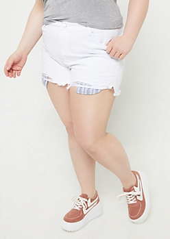 Plus White Extra High Waisted Striped Pocket Shorts