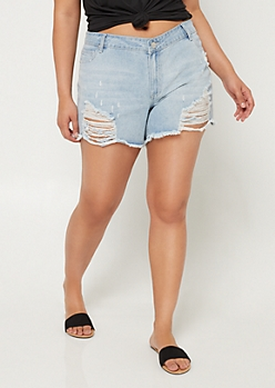 Plus Medium Wash Frayed Ripped Midi Jean Shorts