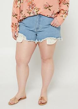 Plus Light Wash Crochet Pocket Shorts