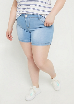 Plus Light Wash Mid Rise Midi Shorts